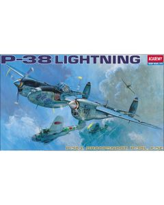 Academy 12282 P-38 Lightning 1/48 Scale Model Kit with Parts for 4 Variants