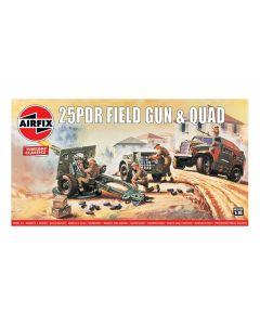 Airfix 01305V WWII British 25 pdr Field Gun & Quad 1/76 Scale Plastic Model Kit