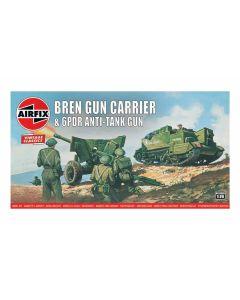 Airfix 01309V WWII British Bren Carrier & 6 pdr AT Gun 1/76 Scale Model Kit