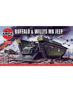 Airfix 02302V Buffalo Amphibian LVT & Jeep 1/76 Scale Plastic Model Kits