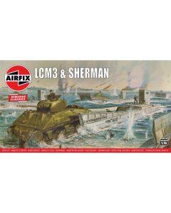 Airfix 03301V WWII LCM3 & Sherman Tank 1/76 Scale Plastic Model Kits