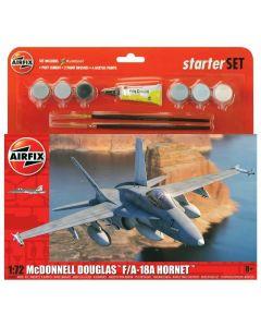 Airfix 55313 McDonnell-Douglas F-18 1/72 Scale Plastic Model Kit Starter Set