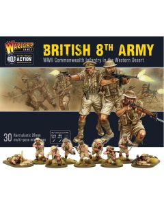 Bolt Action British 8th Army Infantry Multipose Hard Plastic 28 mm Miniatures