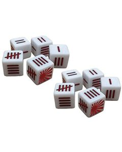 Blood Red Skies Dice (10) White with Japanese Rising Sun