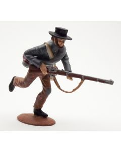 Confederate Infantry Advancing Gray Shirt Black Hat 1/30 Scale Metal Toy Soldier