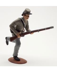 Confederate Infantry Advancing Gray Shirt Gray Hat 1/30 Scale Metal Toy Soldier
