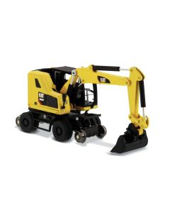 Diecast Masters 85612 Cat M323F Railroad Wheeled Excavator Safety Yellow 1/87