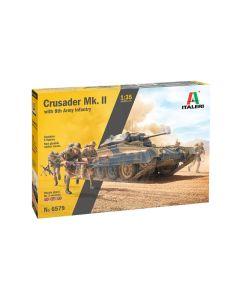 Italeri 6579 Crusader Mk.II 1/35 Scale Plastic Model Kit with 5 Infantry Figures