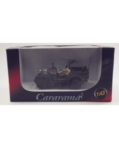 Cararama Willys Jeep with Mounted Gun & Driver 1/43 Scale Diecast Model