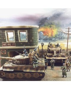 Military Diorama Background 'Barn in Flames' Hand-Painted Original