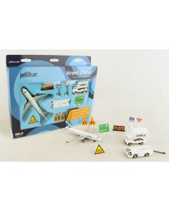 JetBlue Airlines Playset with Diecast Toy Airplane and Airport Accessories