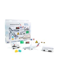 American Airlines Playset with Diecast Toy Airplane and Airport Accessories