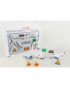 British Airways Playset with Diecast Toy Airplane and Airport Accessories