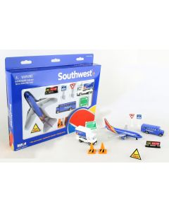 Southwest Airlines Playset with Diecast Toy Airplane and Airport Accessories