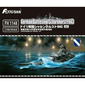 Flyhawk FH1148 German Battleship Scharnhorst 1943 1/700 Scale Plastic Model Kit