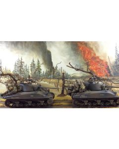 Large Military Diorama Background 'Roadside Fire' Hand-Painted Original
