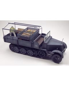 WWII German Half-Track with Soldier Offloading Ammo Built-Up 1/35 Scale Model