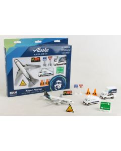 Alaska Airlines Playset with Diecast Toy Airplane and Airport Accessories